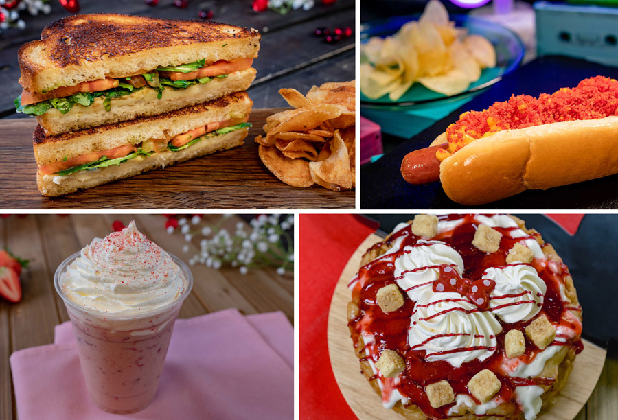 2020 Valentine's Season Offerings at Disneyland Park - Toasted Caprese Sandwich, Burnin' Hot Mac and Cheese Dog, Strawberry Horchata and Funnel of Love