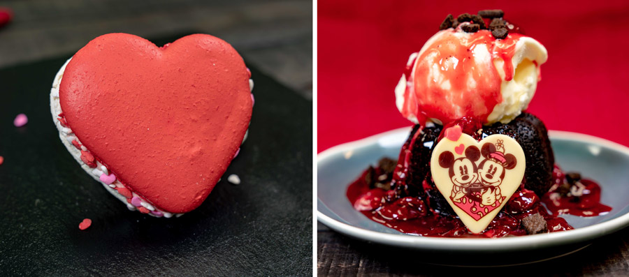 2020 Valentine's Season Offerings at Disney California Adventure Park - Valentine's Day Macaron and Valentine's Day Bundt Cake Sundae
