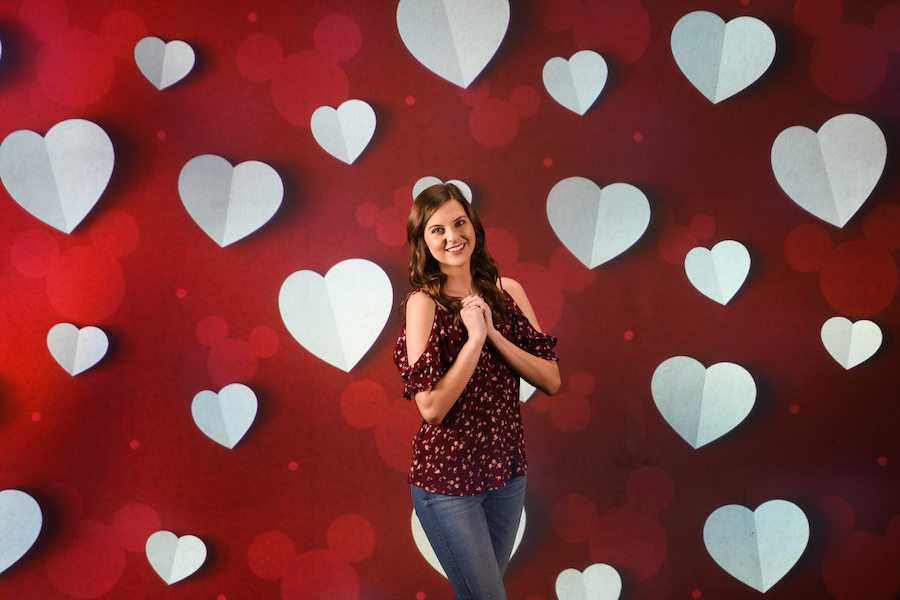 Valentine's Day photo option from Disney PhotoPass Service at the Disney PhotoPass Studio at Disney Springs