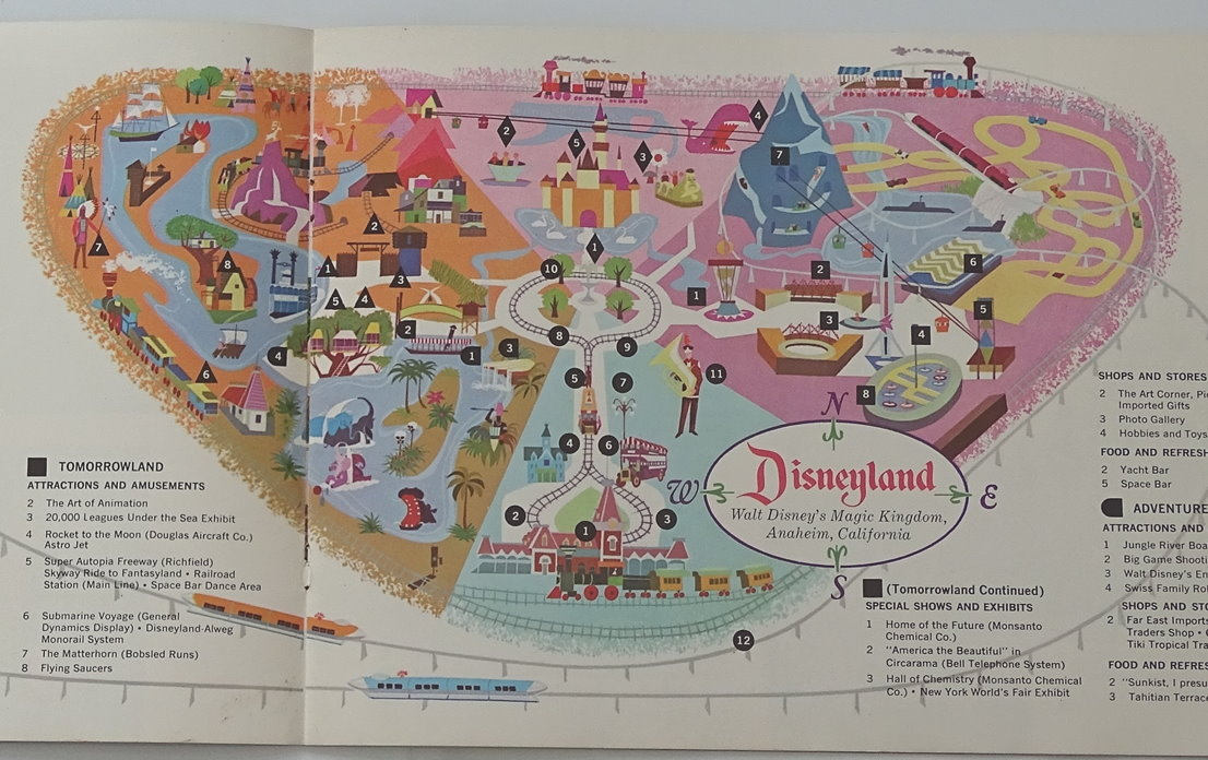 1964 disney map of five lands at magic kingdom