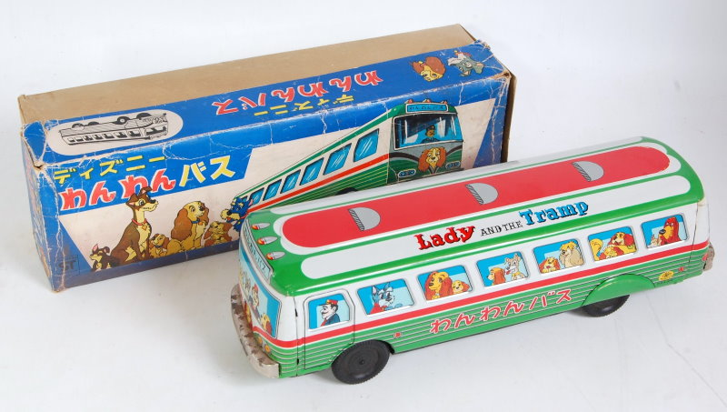 Japan Masudaya tinplate The Lady & The Tramp Disney coach