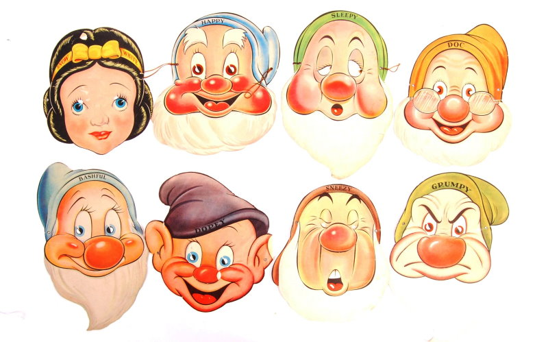Snow White and the Seven Dwarfs Post Toasties cut-outs