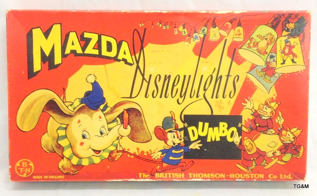 A set of Vintage Dumbo Disney lights by Mazda circa 1950's in original box