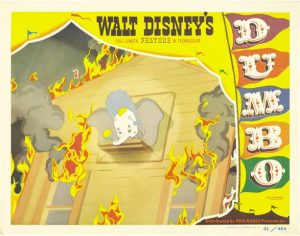 Dumbo RKO 1941 Lobby Card Dumbo in fire